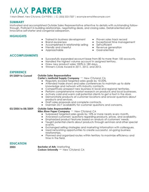 best resumes sles outside sales resume template learnhowtoloseweight net