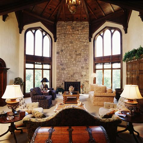 mediterranean stone accent wall mediterranean living sumptuous wooden treasure chest in living room
