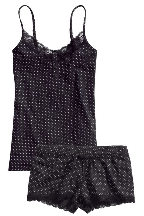 Hm Set Hk Sleepwear pajamas with top and shorts black dotted sale h m us