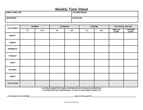 Free Printable Weekly Time Sheet Office Stuff Pinterest Timesheet Template Templates Sheets Monthly Timesheet Template