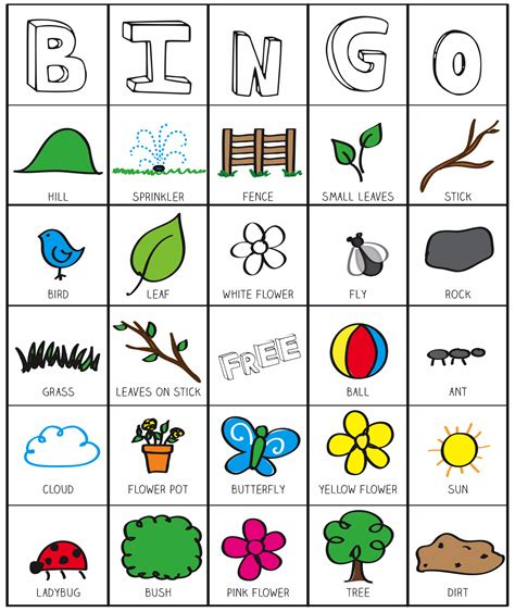 printable educational games for preschoolers outside bingo printable inspired by the garden classroom