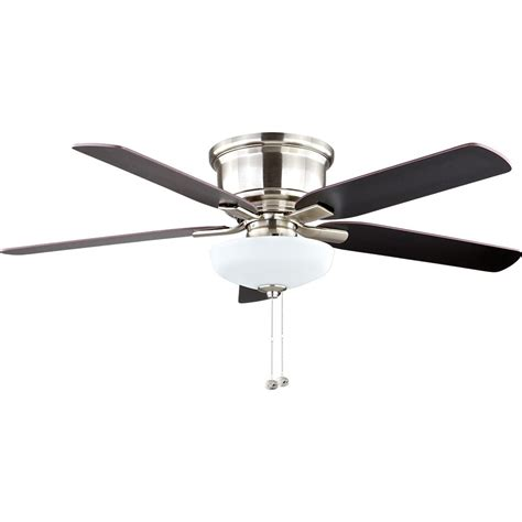 low profile brushed nickel ceiling fan hton bay springs low profile 52 in led brushed