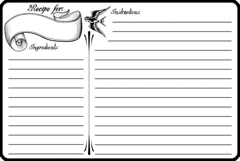 printable recipes pdf classic tattoo 4x6 recipe card free printable classic