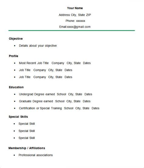 Exles Of Simple Resumes by Simple Cv Template Simple Cv Template In Word How To