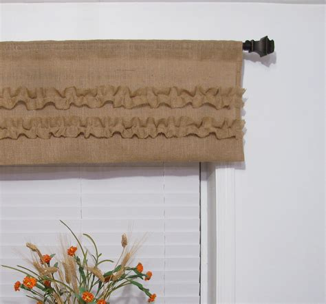 Rustic Kitchen Curtains Burlap Ruffled Valance Rustic Curtain By Supplierofdreams On Etsy