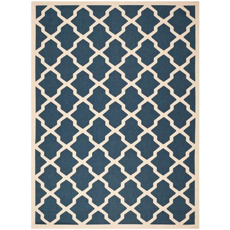 9 x 9 outdoor rug safavieh courtyard navy beige 9 ft x 12 ft indoor outdoor area rug cy6903 268 9 the home depot