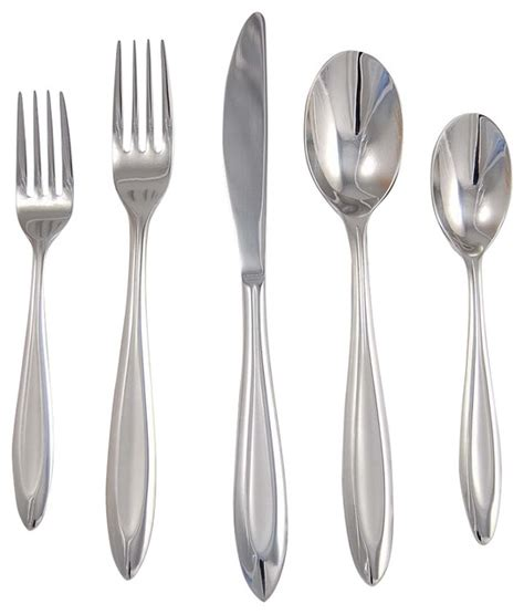 modern flatware sets fontur 20 pc flatware set in platinum satin finish