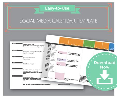 Free Social Media Template Easy To Use Social Media Calendar Template