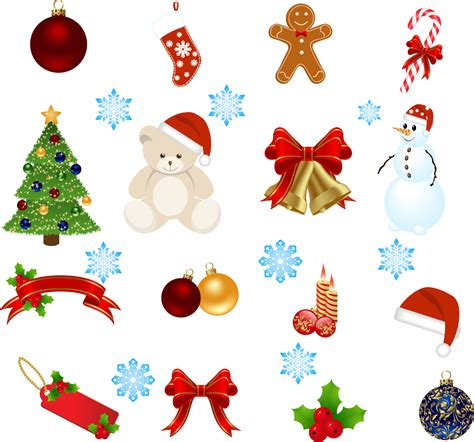 exquisite cartoon christmas ornaments vector free vector