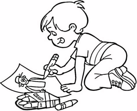 Little Boy Drawing A Masterpiece Coloring Page Coloring Pages To Draw
