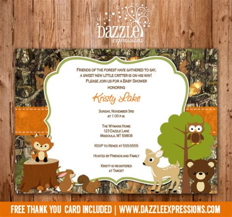 Printable Wooodland Animal Camo Baby Shower Invitation Thank You Card Camouflage Invitations Template Free