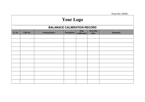 Calibration Spreadsheet Template by Best Photos Of Record Log Template Free Payment Record