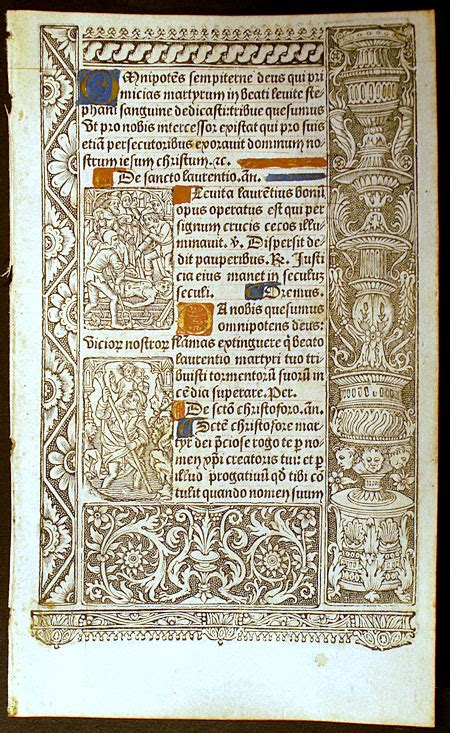 The Book Of Sts renaissance book of hours leaf sts
