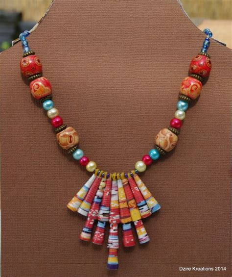 paper bead paper jewelry paper bead necklace