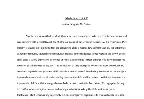 Dibs In Search Of Self Essay by Dibs In Search Of Self Book Report A Level Psychology Marked By Teachers