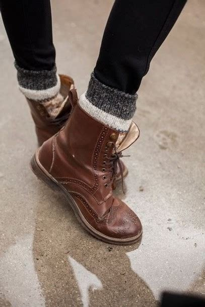 shoes boots brown lace up socks rock oxfords flats