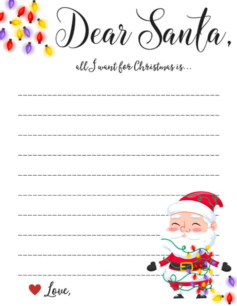 dear santa letter printable downloads
