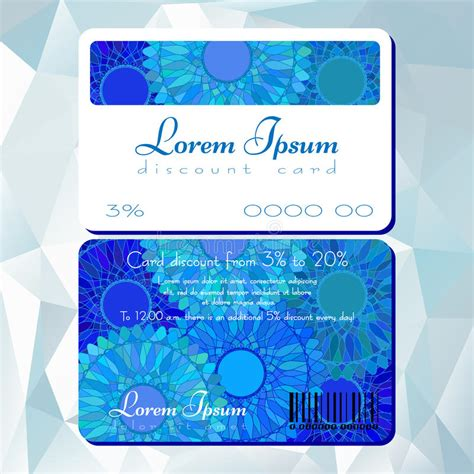 20 discount card template template of discount card with blue mandala pattern stock