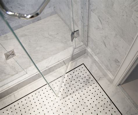 White Bathroom Floor Tile Ideas by Shower Floor Tile Wrapping Bathroom Interior In Chic