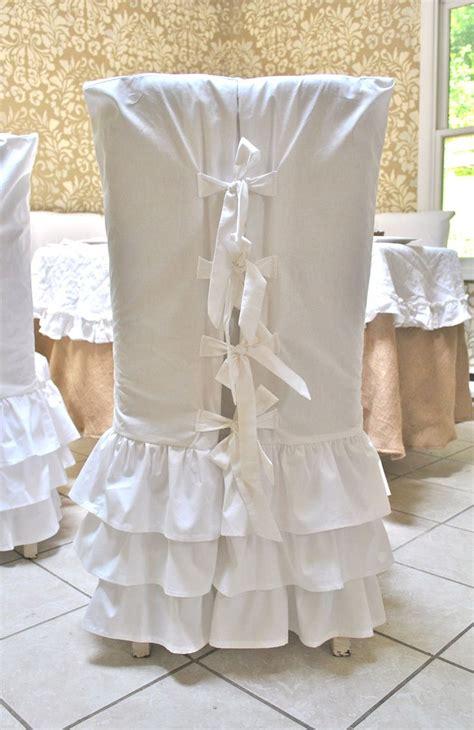 white ruffle chair slipcovers