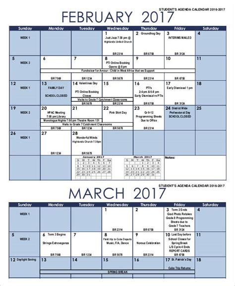 student calendar template 5 agenda calendar templates free sles exles