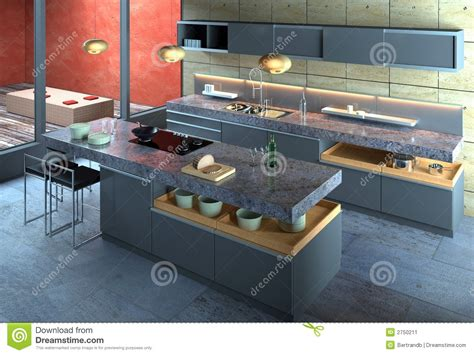 Kitchen Island With Cutting Board by Luxury Modern Kitchen Interior Stock Image Image 2750211