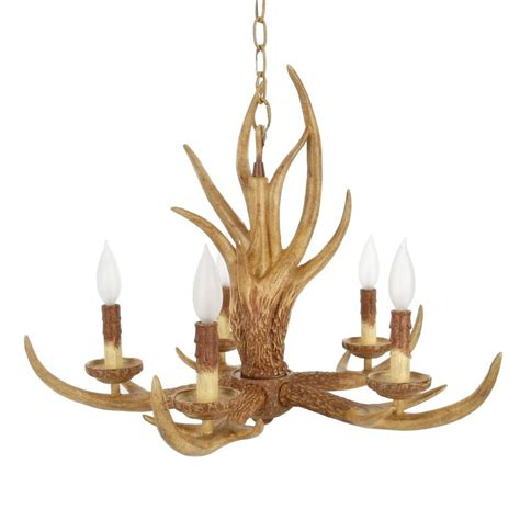 nature chandelier hton bay 5 light natural antler hanging chandelier