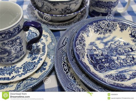 blue and white china l collection of blue and white china dishes stock photo