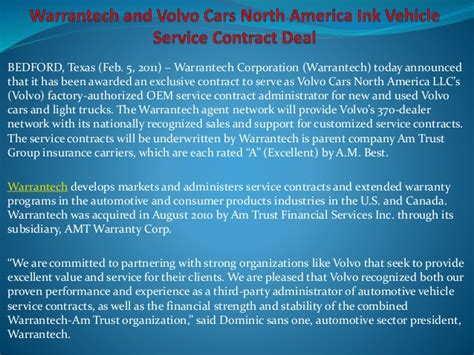 warrantech  volvo cars north america ink vehicle service contract