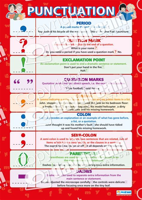 printable punctuation poster punctuation english grammar poster