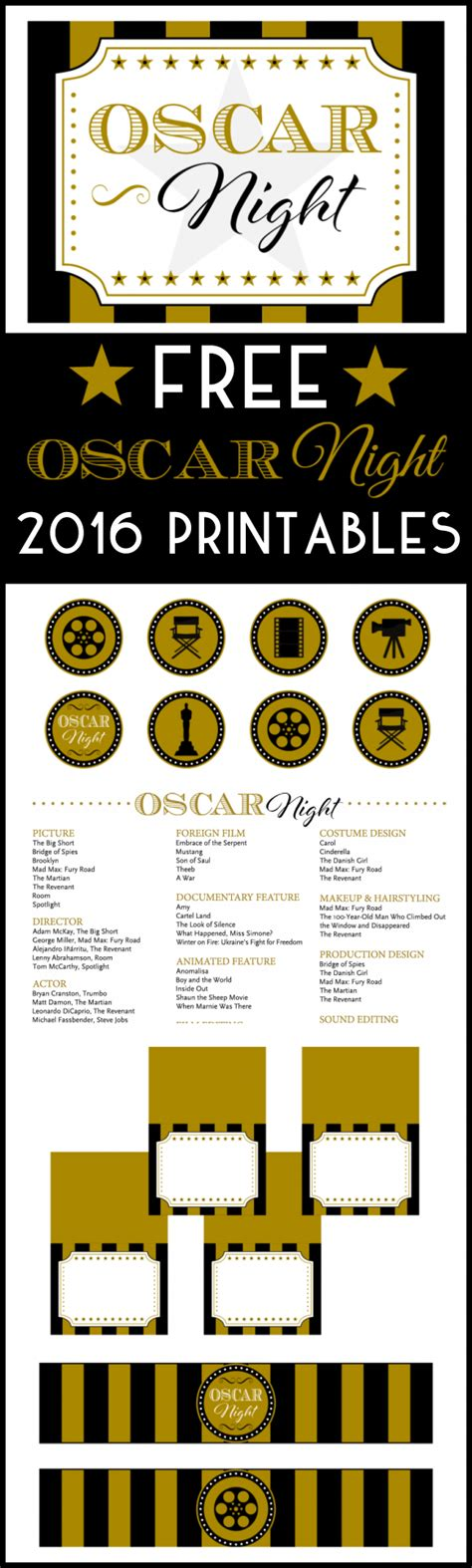 academy awards printable themed card template 2016 free oscar printables catch my