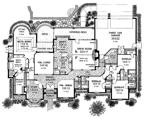 large house blueprints sprawling one story charmer hwbdo10218 country