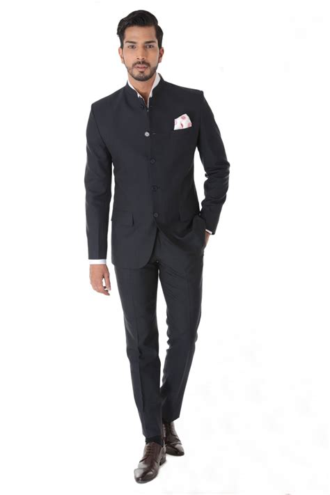 Square Suit classic grey texture bandhgala suit with pocket square