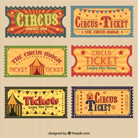 printable circus tickets retro circus tickets pack vector premium download