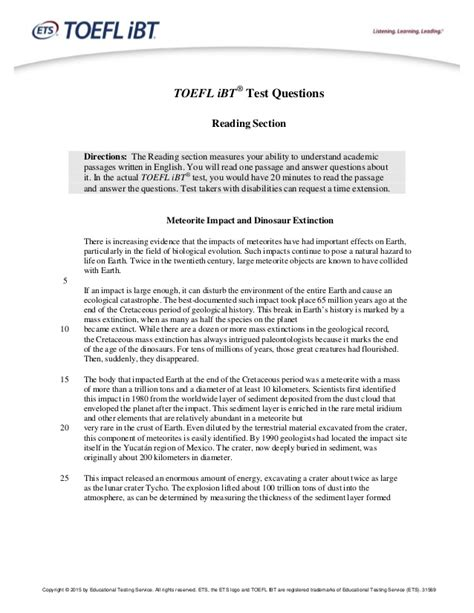 reading comprehension test of toefl toefl ibt sle questions