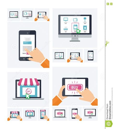 design online shop flat design online shop website on various devices