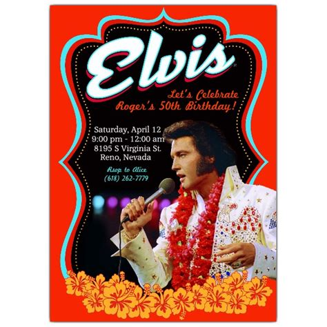 elvis greeting cards printable elvis poster birthday invitations paperstyle