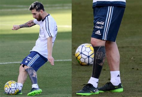 messi tattoo on leg shit football ink lionel messi covers up entire leg