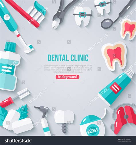 banner design for dental clinic dentistry banner flat icons vector illustration stock