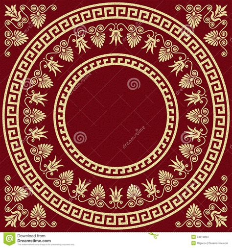 Vector Traditional Vintage Gold Greek Ornament Stock Antique Greece To Color