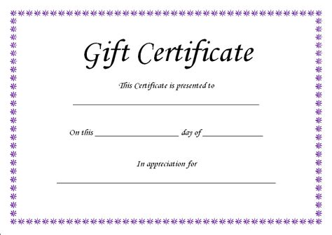 templates for gift certificates free gift certificate template blank