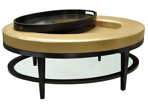 Light Gold Color Round Faux Leather Ottoman Coffe Table Ottoman And Coffee Table