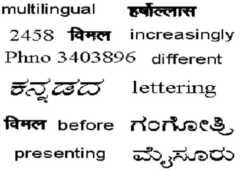 hindi meaning of pattern recognition sle input document containing kannada hindi english