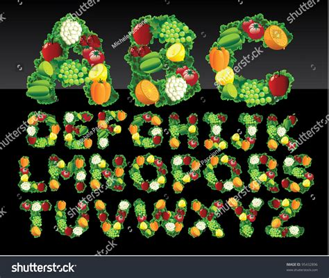 fruit 8 letters fruit and vegetable alphabet letters icon symbol set eps 8