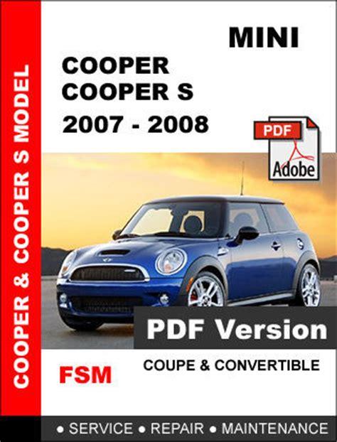 service repair manual free download 2008 mini cooper engine control mini cooper s 2007 2008 factory service repair workshop oem maintenance manual other makes
