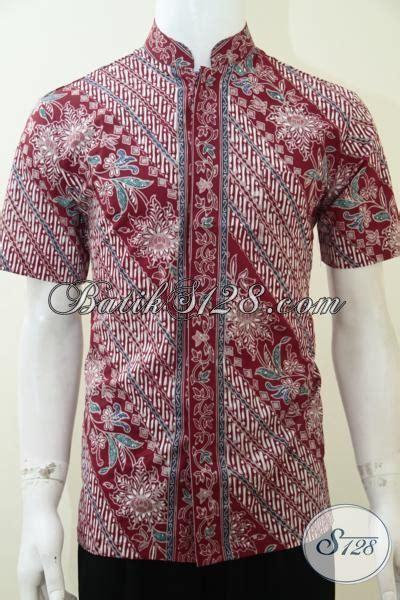 coleksi baju sianghai koko batik keren warna merah baju kerah shanghai mantap