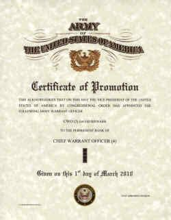 officer promotion certificate template army promotion certificates