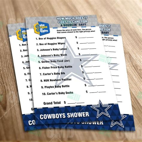 Dallas Cowboys Baby Shower Invitations by Dallas Cowboys Price Is Right Baby Shower Sports