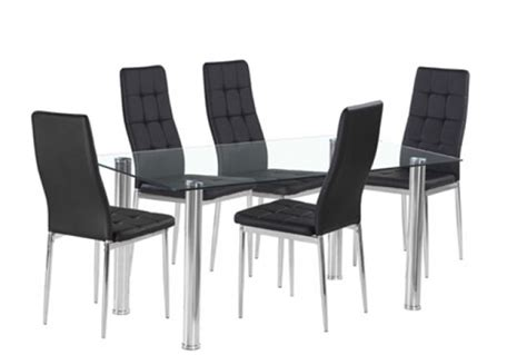 Black Glass Dining Table And 6 Chairs Cheap Flow Rectangular Glass Dining Table 6 Black Chairs