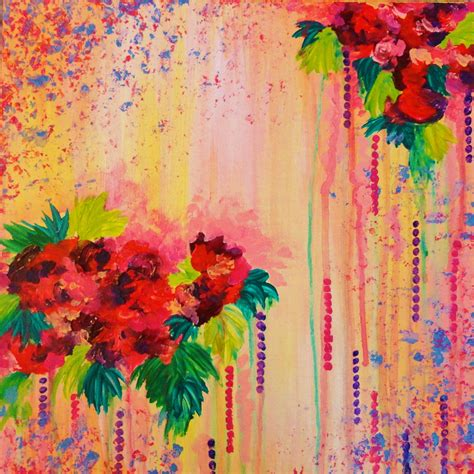 acrylic painting flowers strawberry confetti painting abstract acrylic floral